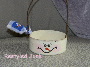 Recycled Tuna Can Snowman Basket (could also make a Bunny for Easter